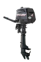 "New Mercury 1F04201EK 4 HP FourStroke small outboard tiller handle engine. Manual start,  long shaft (20""/508 mm) driveshaft housing for sale"